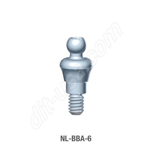 6mm Cuff O-Ball Abutment for Narrow Platform Conical Connection.
