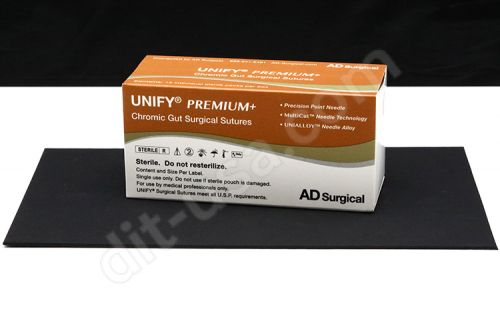 """5-0 x 18"""" Unify Premium Chromic Gut Sutures with PS-3 Needle - 12/Box"""