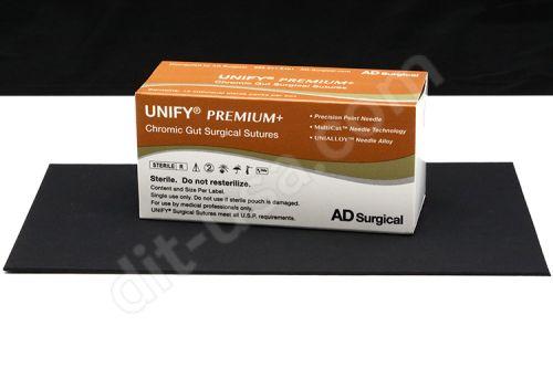 "5-0 x 18"" Unify Premium Chromic Gut Sutures with P-3 Needle - 12/Box"