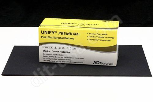 "6-0 x 18"" Unify Premium Plain Gut Sutures with P-3 Needle - 12/Box"
